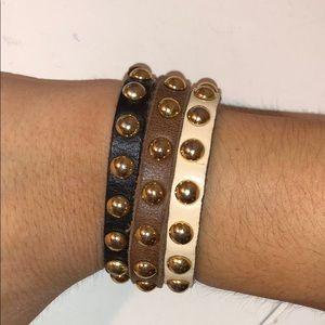 Set of 3 leather bracelets